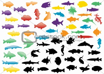 Fish silhouettes illustration set.