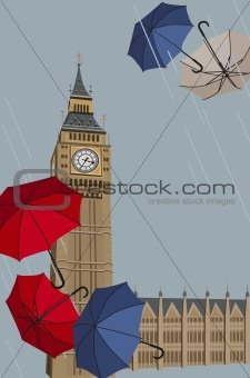 Big Ben and Umbrellas