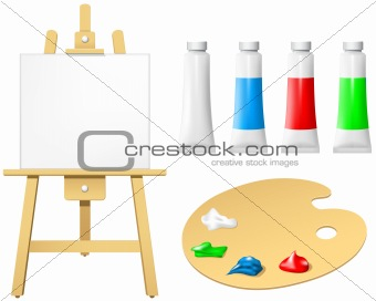 Easel with blank board and palette