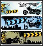 Biker grunge banners