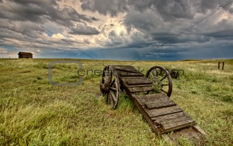 Old Prairie Wheel Cart Saskatchewan