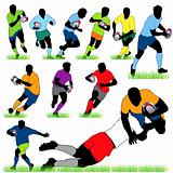12 Rugby Players Silhouettes Set
