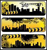 grunge floral city banner