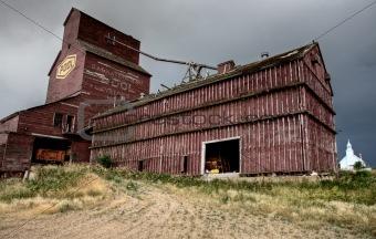 Prairie Grain Elevator and Church