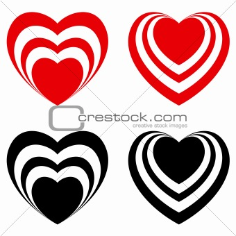 Abstract Valentine heart set