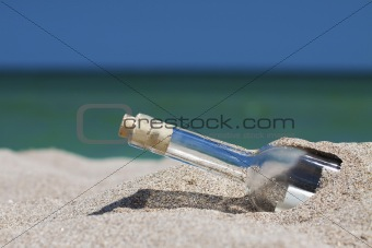 Message in a bottle with sea and the horizon