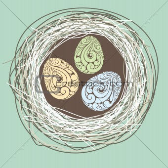 illustration with nest and eggs