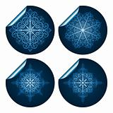 vector highly detailed blue snowflake stickers