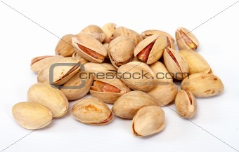Close-up image of pistachios studio isolated on white background