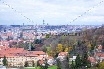 The View on the Prague's gothic Castle and Buildings