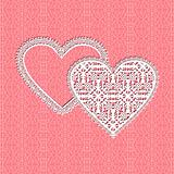 lace heart vector frame with floral pattern on lace background