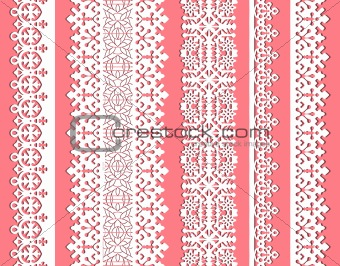 cute straight seamless lace vector set