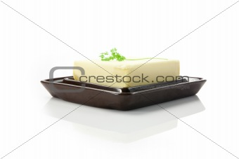 fresh butter in the butter dish