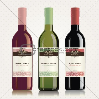 Red, white and rose wine labels and bottles