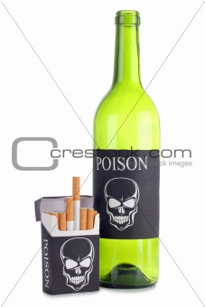 Cigarettes and bottle