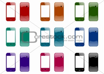 mobile phones front and back in nine colors