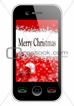 mobile phone with christmas background