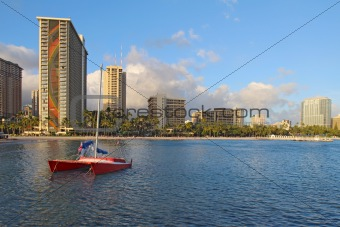 Catamaran and hotels on Waikiki beach