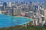 Waikiki Beach and the skyline of Honolulu, Hawaii