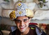 Happy Young Indian teenager Fancy dress turban