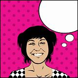 Comic style bubble speech girl