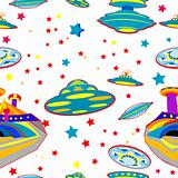 seamless pattern with flying saucers