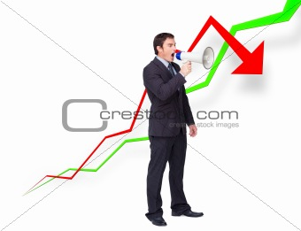 Young businessman using a megaphone