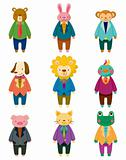 cartoon animal office worker icons