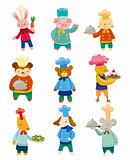 cartoon animal chef icons