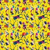 Cartoon Heavy Metal rock music band seamless pattern