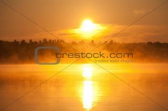 Foggy Morning Sunrise over Lake