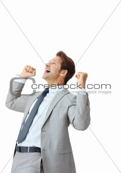 Energetic young businessman enjoying success