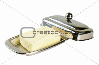 Butter in a chromed metal box