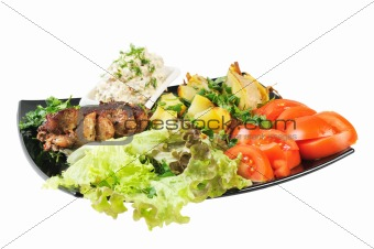 Grilled meat and potatoes