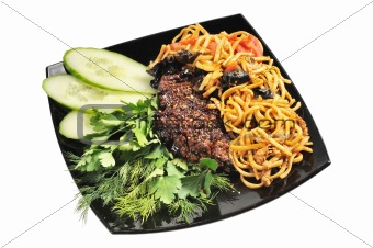 Grilled beef with Chinese noodles