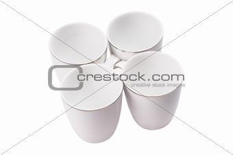 Four empty cup. View from top