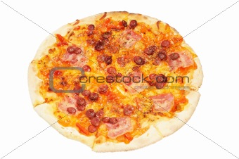 A whole pizza  with  sausage  and bacon