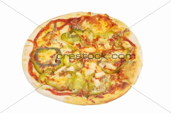 Pizza with  cheese, meat, pepper  and  ketchup