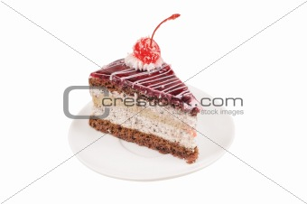 Slice of cake with cherry