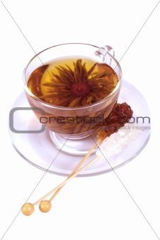 Transparent cup of Chinese tea