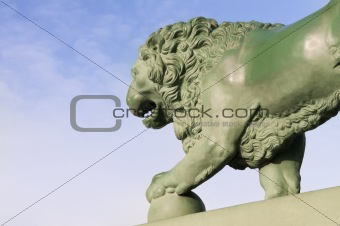 A bronze statue of a lion St. Petersburg