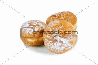 Three donut on a saucer