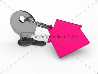 3d key pink house
