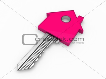 3d key home house pink