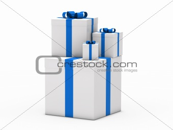 3d gift christmas blue white