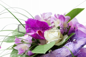 bouquet of purple orchid and white rose
