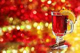 Mulled wine over Christmas decoration