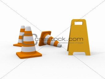 3d illustration of traffic cone knock over on white background