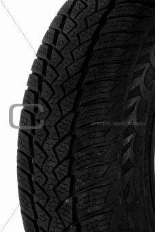 A fragment of the tire tread, isolated on a white background