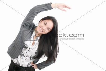 business woman portrait stretching isolated over a white backgro